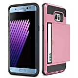 Galaxy S6 Case,JOBSS [Card Pocket] Heavy Duty Armor Wallet Case Snap-on Soft Rubber Bumper Protective Hard Shell Card Holder Slide Slot Cover For Samsung Galaxy S6 S VI G9200 GS6 All Carriers[Pink]