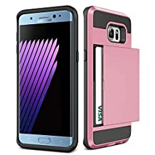 Galaxy S6 Edge + Plus Case,JOBSS [Card Pocket] Shockproof Dual Protective Shell Rubber Bumper with Card Holder Slot Wallet Case Cover Shell For Samsung Galaxy S6 Edge Plus G928 G9287[Pink]