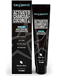 Cali White ACTIVATED CHARCOAL & ORGANIC COCONUT OIL FOR TEETH WHITENING , MADE IN USA, Best Natural Whitener, Vegan, Fluoride Free, Sulfate Free, Organic, Black Tooth Paste, Kids MINT (4oz)