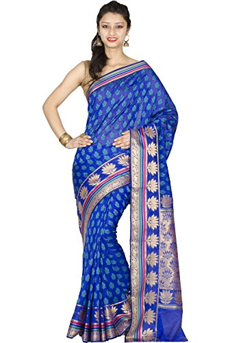 Chandrakala Women's Banarasi Cotton Silk Saree Free Size Royal (Blue Silk Sari Saree)