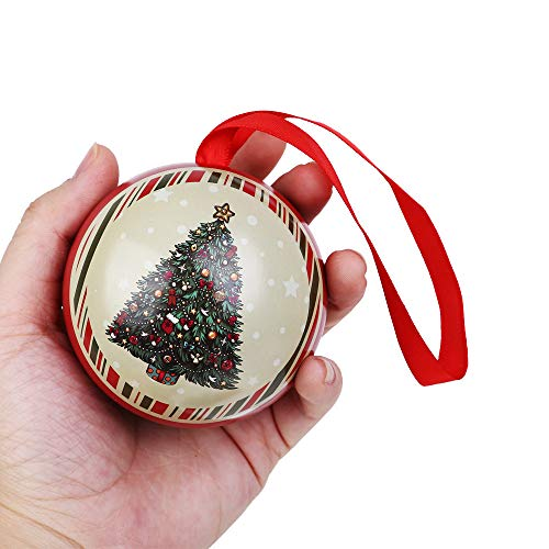 Sinwo Tinplate Round Ball Boxes Candy Box Galaxy Reindeer Xmas Santa Tree Hanging Christmas Decorations Party (C)