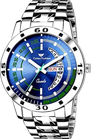Fadiso Fashion Blue Dial Day and Date Functioning Analogue Men's Watch