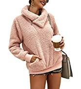 KIRUNDO 2021 Women's Winter Lapel Sweatshirt Faux Shearling Shaggy Warm Leopard Pullover Zipped U...