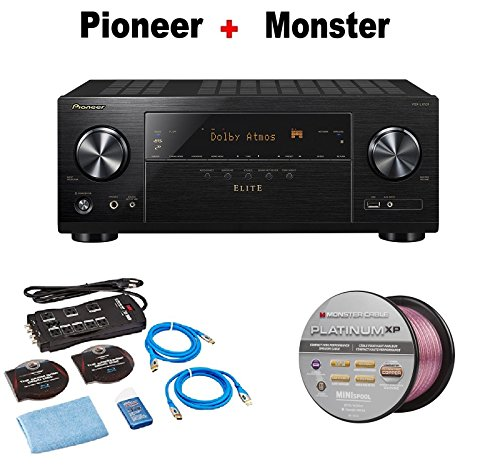Pioneer Elite VSXLX101 7.2 Channel Networked AV Receiver with Built-In Bluetooth & Wi-Fi (Black) + Monster Home Theater Accessory Bundle + Monster - Platinum XP 50' Compact Speaker Cable Bundle by Pioneer