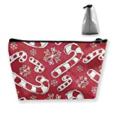 Trapezoid Toiletry Pouch Portable Travel Bag Christmas Candy Cane Zipper Wallet