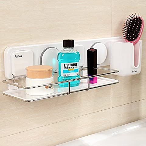 Gaoyu Suction Cup Adhesive Wall Mounted Bathroom Kitchen Toilet Shelf Furniture Sets Stainless Steel Shower Caddy Shampoo Shower Gel Holder 263003 - NO TOOLS - Marble Chrome Wall
