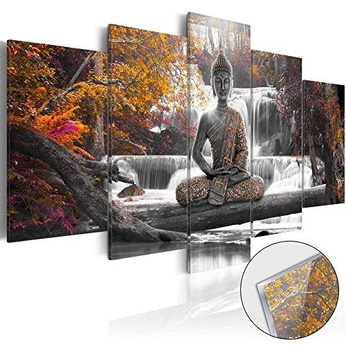 Ideas Painting Rooms (AWLXPHY Decor-Buddha Waterfall Wall Art Canvas Painting Framed 5 Panels for Living Room Decoration Modern Landscape Buddha Trees Zen Stretched Artwork Giclee (Yellow, 60''x30''))