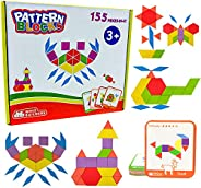 Wooden Pattern Blocks Shape Puzzle Tangram Montessori Homeschool Kindergarten Toys – Learning Educational Stem