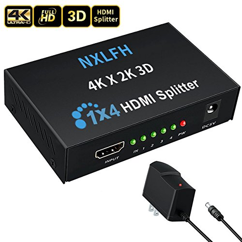 HDMI Splitter, 1 Input to 4 Outputs Hdmi Splitter Hdmi Signal Splitter 1 Port HDMI Powered Splitter Certified for Full HD 1080P &4Kx2K 3D Support[2018 Version]