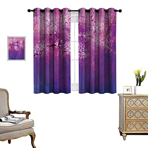 Flower Window Curtain Fabric Asian Japanese Cherry Blossom with Hazy Romantic Paint Eastern Oriental Art Drapes for Living Room W63 x L63 Fuchsia ()