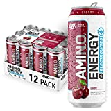 Optimum Nutrition Amino Energy + Electrolytes Sparkling Hydration Drink - Pre Workout, BCAA, Keto Friendly, Energy Powder - Juicy Cherry, 12 Count