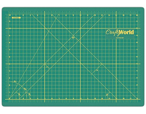 Crafty World Green 12 x 18 Inche Self Healing Cutting Mat - Durable Double Sided Non-Slip 3mm Thick Professional Gridded Rotary Mat for Quilting, Scrapbooks, Sewing, Gunpla, and Arts & Crafts