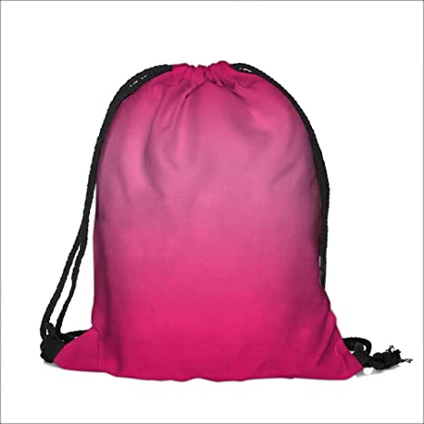b59bdf784f1c Amazon.com  Thick Drawstring Pocket Pink Inspired Fuchsia Modern Design  Ombre for Room Decorations Digital Print Pink with Drawstring Closure 12