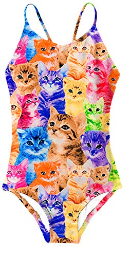 (AIDEAONE Cute Cat Swimsuit for 7T Girls One Piece)