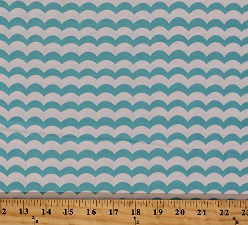 Cotton Seaside Holiday Choppy Waters Waves Stripes Ocean Sea Nautical Blue White Cotton Fabric Print by the Yard (04125-09) (Nautical Fabric Cotton)