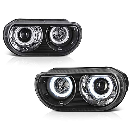 VIPMOTOZ 2008-2014 Dodge Challenger Projector Headlights - [For Factory Xenon HID Model] - Matte Black Housing, Dual CCFL Halo Ring, Driver and Passenger ()