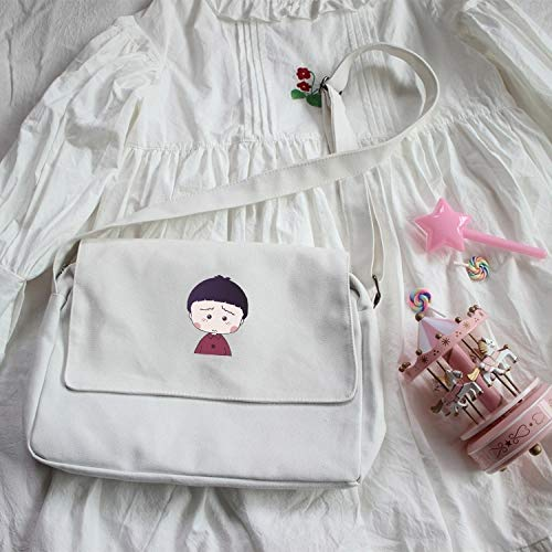 Unique Cute Girl's Mind Messenger Bag Cute Women Girls Students Unique Book Loaded Chibi Maruko Large Capacity Canvas Shoulder Bag (White - Chibi Maruko (Bag Bowler Canvas)