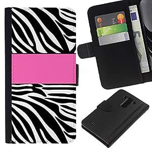 A-type (Pink Pattern Line Black White) Colorida Impresión Funda Cuero Monedero Caja Bolsa Cubierta Caja Piel Card Slots Para LG G3