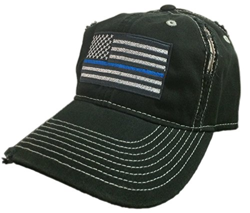 BlvdNorth Thin Blue Line LEO American Flag Hat / cap Black / Grey Distressed