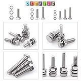 Glarks 510 Pieces Flat Hex Stainless Steel Screws