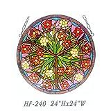 HF-240 24 Inch Pastoral Vintage Tiffany Style Handmade Stained Glass Church Art Decorative Lush Garden Window Hanging Glass Panel Suncatcher