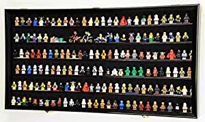 180 Lego Men/Legos/Mini Figures Minifigures/Display Case Cabinet - Lockable (Black Finish)