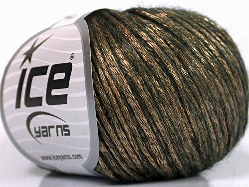 Rock Star, Bronze, Dark Brown, Metallic Shine, Soft Nylon, Merino Wool, Acrylic Blend Yarn, 50 Gram