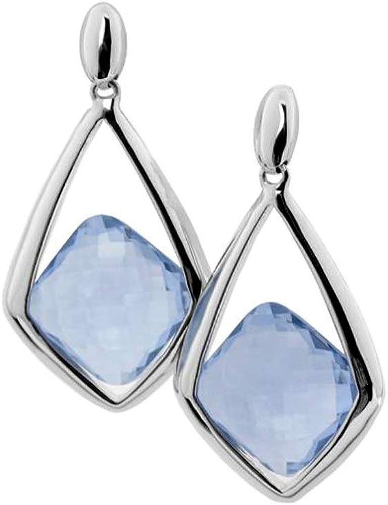 Pendientes de Plata de Ley EA93798800 largos calados con piedra azul facetada