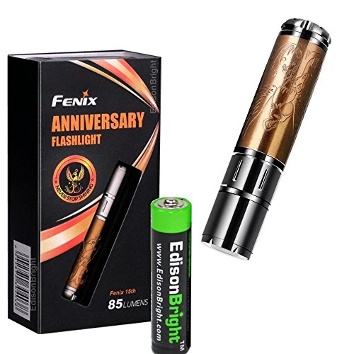 Fenix 15th Anniversary Special Edition 85 Lumen LED flashlight, unique rose gold plating with Fenix's insignia bundle with EdisonBright AAA alkaline -