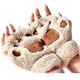 Polytree Women's Bear Paw Plush Glove Half Finger Winter Warm Soft Gloves - Beige