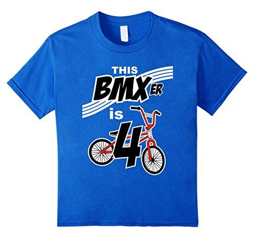 Bmx Kids T-shirt - Kids 4th Birthday Boys BMX Bike Kids T-Shirt Bicycle 4 Year Old 4 Royal Blue