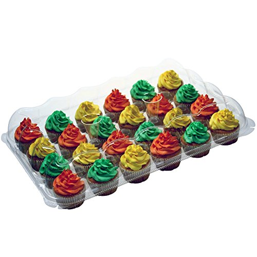 (OccasionWise Premium Cupcake Carrier Holds 24 Standard Cupcakes - Extra Sturdy Clear Plastic Boxes with Tall Dome Detachable Lid - Disposable Containers - Storage Tray & Travel Holder | Set of 10)