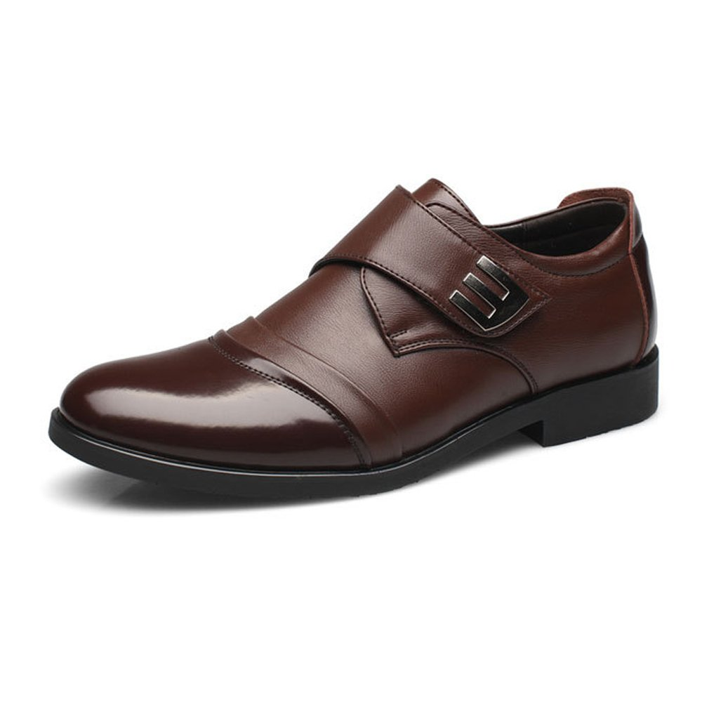 Shufang-shoes Mens Shoes Genuine Leather Splice Hook/&Loop Strap Breathable Business Low Top Lined Oxfords