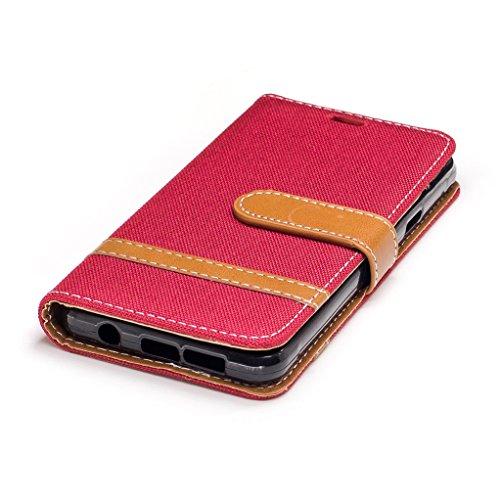 Trumpshop Smartphone Carcasa Funda Protección para Samsung Galaxy A3 (2016) SM-A310 [Azul Profundo] Estilo Vaquero PU Cuero Caja Protector Billetera Choque Absorción Rojo