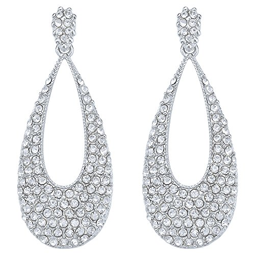 (DMI Wedding Party Jewelry Alloy Rhinestone Hollow Teardrop Long Chandelier Dangle Earrings Silver-Color)