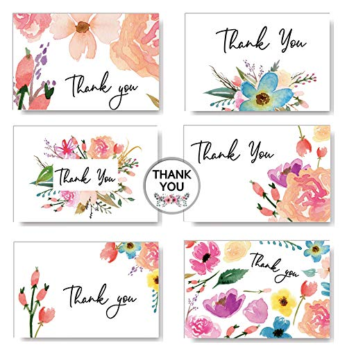 Watercolor Floral Thank You Cards Box Sets | 6 Assorted Design Blank Inside | 4 x 6 inches, 36 Bulk Notes Card with Envelopes and Stickers | for Wedding, Bridal Shower, Baby Shower Girl, Kids