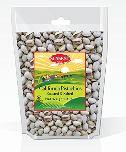 SUNBEST California Pistachios Dry Roasted & Salted, In-Shell in Resealable Bag, Kosher Certified (32 oz ( 2 Lb ))