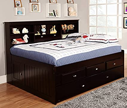 Discovery World Furniture Full Bookcase Daybed With 3 Drawers And Twin  Trundle, Espresso