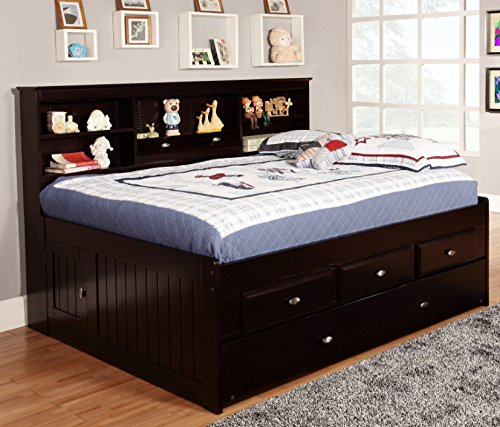 Pine Twin Size Daybed - Discovery World Furniture Full Bookcase Daybed with 3 Drawers and Twin Trundle, Espresso