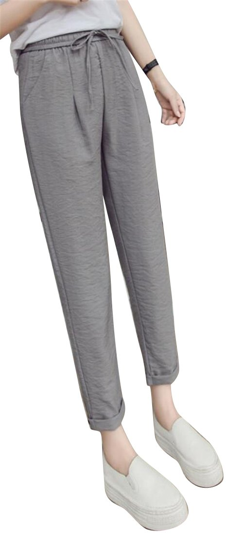 Jotebriyo Women Lightweight Ice Silk Elastic Waist Harem Ankle Thin Summer Casual Pants Trousers Grey XL