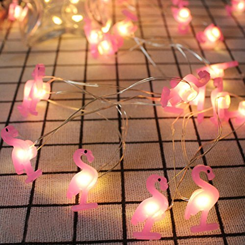Yaeer Pink Flamingo String Lights Decorating, 6.6ft 20 LEDs Tropical Themed Fariy Strung Light Birthday Bedroom Beach Wedding Parties DIY Wreathe Decorations