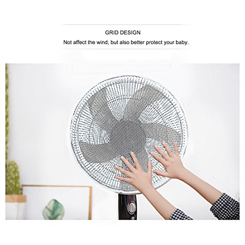 FamyFirst Standing Round Fan Dust-proof Cover Fan Guard Net Summer Washable Children Finger Safety Mesh Fan Protection Cover Lace S
