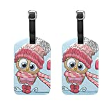 Top Carpenter 2 Packs Cartoon Owl In Hat Scarf Luggage Hand-bag Claim Baggage ID Tag Travel Identifier Suit-case Label - Leather by