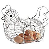 YaptheS Chicken Design Wire Egg Basket Practical Woven Egg Rack Kitchen Restaurant Silver Household Products