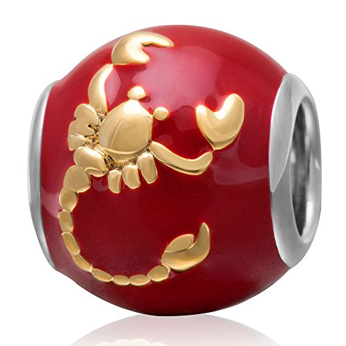 Zodiac Sign Enamel Beads Authentic 925 Sterling Silver Charms for Pandora Charms Bracelet (Scorpio)