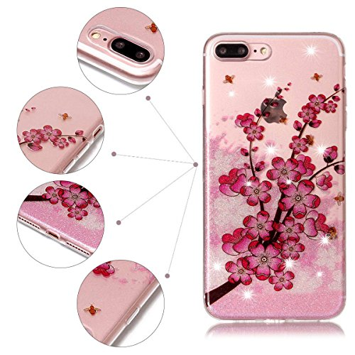 Funda iPhone 7 Plus, iPhone 7 Plus Funda Silicona, SpiritSun Soft Carcasa Funda para iPhone 7 Plus (5.5 pulgadas) Trasparente Carcasa Case Cristal Gel Protectora Carcasa Ultra Delgado y Ligero Flexibl Flor de ciruela
