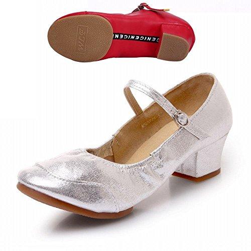 BYLE Sandalias de Cuero Tobillo Modern Jazz Samba de Verano los Zapatos de Baile Zapatos de Baile Moderno Net Hasp Zapato de Baile Hilo Plateado Claro Onecolor