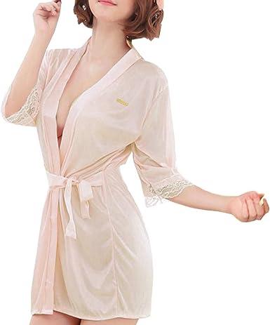 Sidiou Group Vestido Pijama Mujer Kimono Corto Bata de Satén Lencería Kimono del Cordón Satén Bata Albornoz Camisón