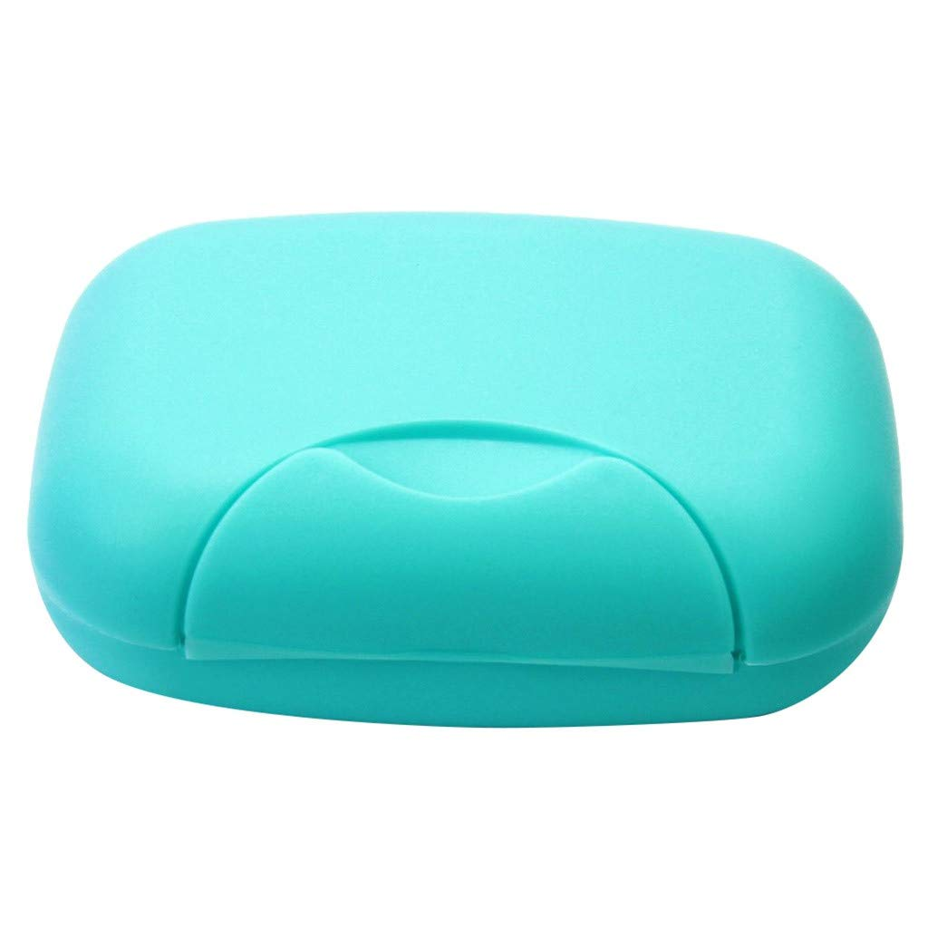 LOVEER Soap Holder Travel Case Shower, New Bathroom Dish Plate Case Home Soap Box Container (Blue)