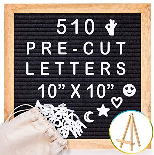 Letter Board with Letters Pre-Cut - Oak Wooden Frame and Stand - 510 Changeable Letters, Numbers & Emojis Separated in Canvas Bag - Share Your Message with Family and Friends - 10